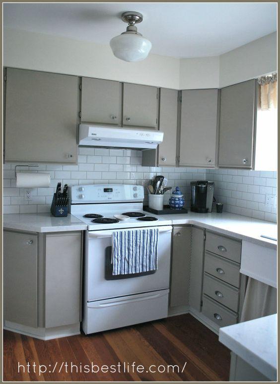 Kitchen makeover: redo over 80s melamine and oak trim ...