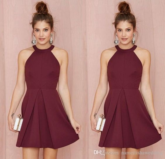 Classy Cocktail Dress Sexy Short Cocktail Party Dresses 2015 Halter Backless Burgundy A Line Above Knee Length Prom Homecoming Gowns Custom Made Women Formal Wear Cocktail Maxi Dresses From Nameilishawedding, $68.07  Dhgate.Com