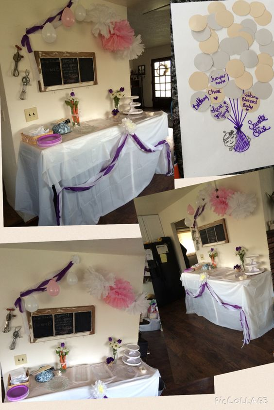 Spring baby shower, purple and white, bunnies