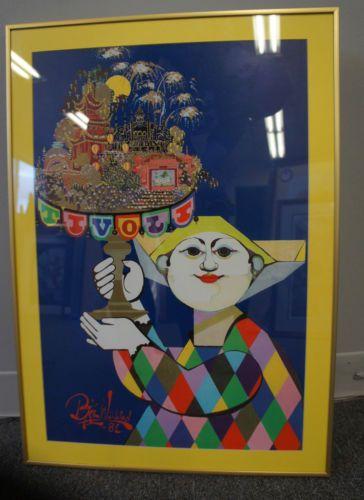 "1 Tivoli Danish Amusement Park Clown Colorful Triangles Print Poster 19"" x 26"""