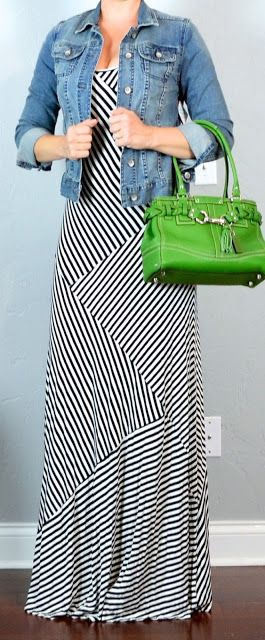 Outfit Posts: outfit post: striped maxi dress, jean jacket, kelly green bag