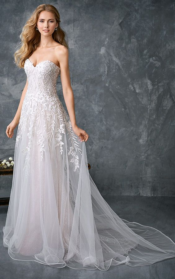 Kenneth Winston 1768 | shimmering sequined tulle gown | beaded embroidery pattern | sweetheart neckline | romantic wedding gown