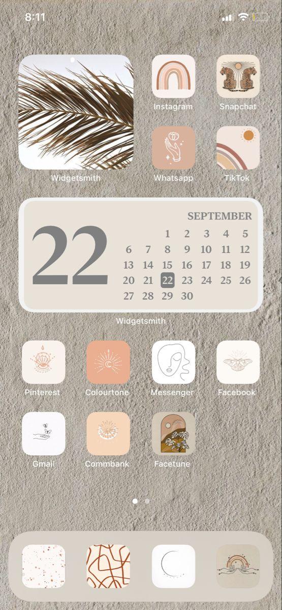 Tan Ios14 Home Screen Layout Homescreen Iphone Iphone App Design Homescreen Cool ios 14 backgrounds aesthetic