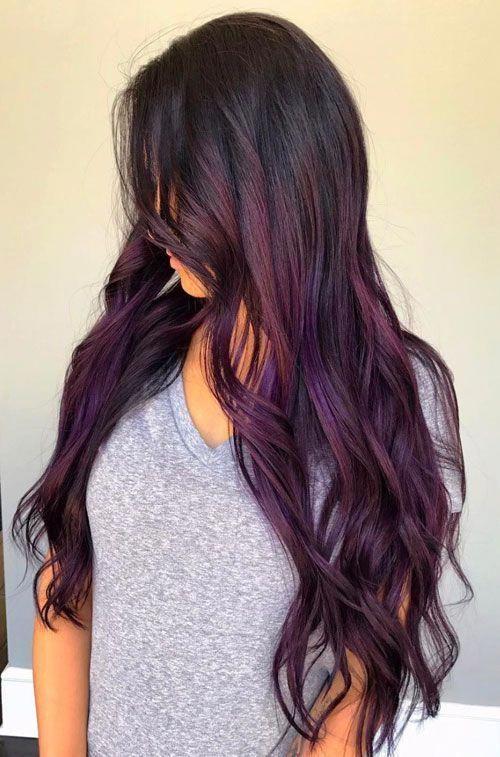 25 Balayage Hair Colors Blonde Brown Caramel Highlights 2020 Purple Balayage Black Hair Balayage Balayage Hair Purple