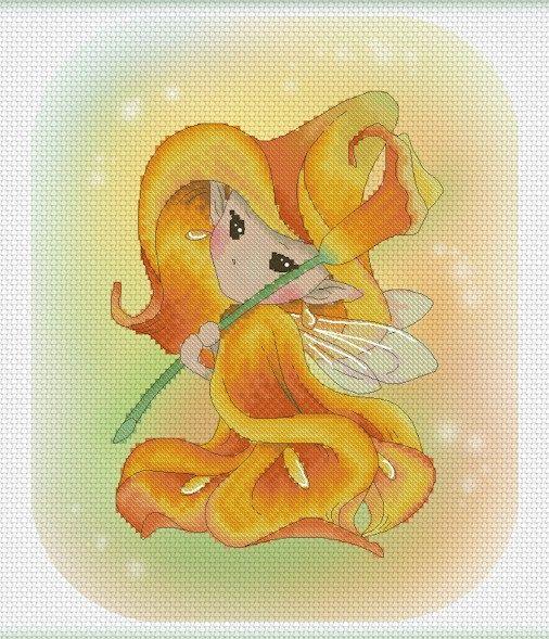 Cross stitch Chart Pattern Flower Sprites  by LenaLawsonNeedleArts