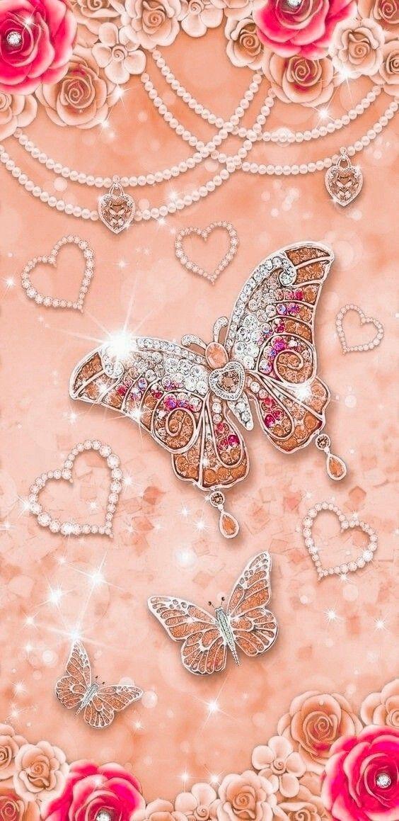 Pin By Marina On Oboi Iphone Background Glitter Pink Diamond Wallpaper Heart Wallpaper Cute glitter pink butterfly wallpaper