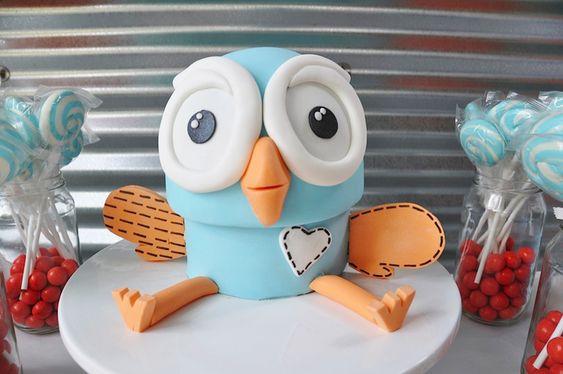 Turquoise and Orange Owl Cake