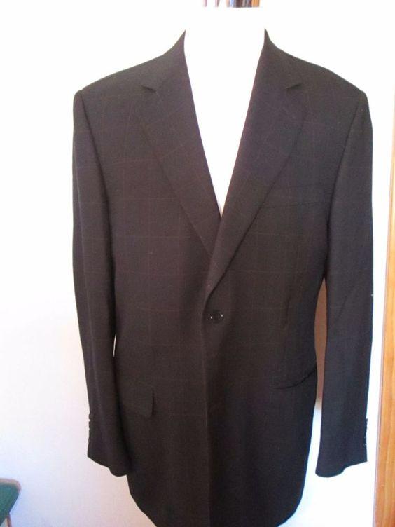 Canali Mens Size 42R Blue Plaid Check Wool Sport Coat Jacket Blazer  #Canali #TwoButton