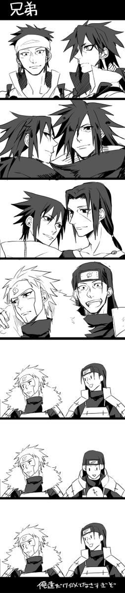 Brother love. Indra and Ashura, Madara and Izuna, Sasuke and Itachi, Tobirama and Hashirama.. ❤ Tobirama-san, you dont have to be so mean to your brother. Hashirama so cute tho