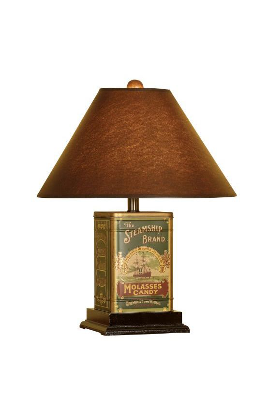 Tin Canister Table Lamp in Brown Finish. Mario Industries, 104.