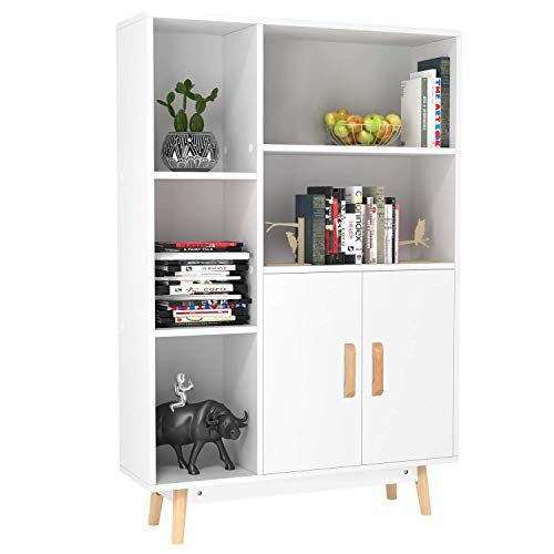 Homfa Floor Storage Cabinet Free Standing Wooden Display Bookcase With Double Doors 2 Shelves 3 Cube In 2020 Display Bookcase Cabinet Decor Office Storage Furniture
