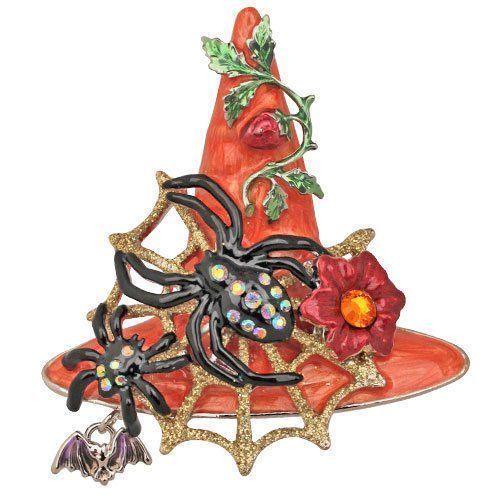 Kirks Folly Halloween Spider Queen Witch HAT Magnetic Necklace Goldtone//Goldtone