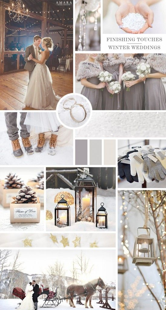 FINISHING TOUCHES    The biggest consideration for a winter wedding is keeping your guests warm.  Provide blankets, handwarmers and even snow boots for your guests, and especially your bridal party, to keep them cosy throughout any outdoor elements of your day including the group photos.  They'll look super cute posed under trees strung with fairy lights and lanterns!