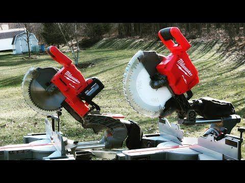 Milwaukee 12 M18 Cordless Miter Saw Vs Milwaukee 10 M18 Cordless Miter Saw Tool Duel Youtube In 2020 Miter Saw Milwaukee Tools Mitered