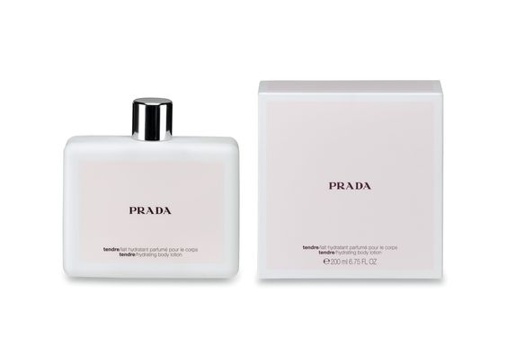 Prada 200ml Tendre body lotion Prada Tendre body lotion. The hydrating body lotion is a moisturising lotion gently scented with Prada Tendre that protects the skin, improves its elasticity and leaves the body silky smooth. Contains http://www.comparestoreprices.co.uk/health-and-beauty/prada-200ml-tendre-body-lotion.asp