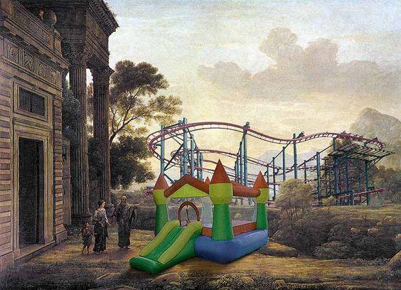 """Claude Lorrain, Die Verstoßung der Hagar (1668) – Hüpfburg """"HappyHoppsi"""" und Achterbahn """"Rolling Death"""""""