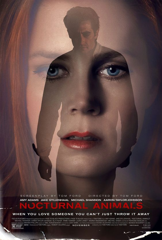 "Nocturnal Animals (DEC 9) R - An art gallery owner is haunted by her ex-husband's novel, a violent thriller she interprets as a veiled threat and a symbolic revenge tale. - Director: Tom Ford - Writers: Tom Ford (screenplay), Austin Wright (based on the novel ""Tony and Susan"" by) - Stars: Amy Adams, Jake Gyllenhaal, Michael Shannon - DRAMA / THRILLER:"