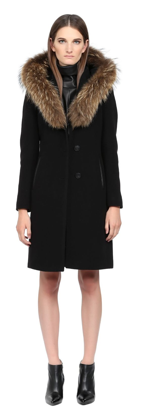 Mackage - ANDIE | BLACK LONG WOOL COAT WITH FUR HOOD FOR WOMEN
