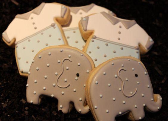 Baby shower cookies onesie cookies elephant von 4theloveofcookies
