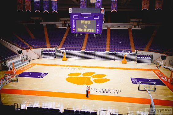 Clemson basketball court engagement
