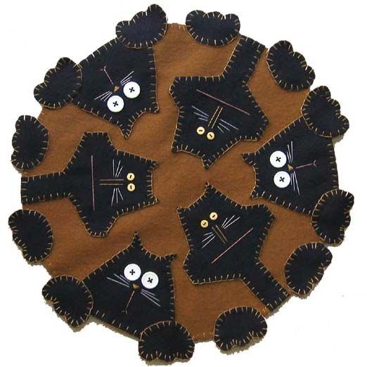 Free Wool Penny Rug Patterns   rug kits penny rug patterns and finished penny rugs designed for and ... #cats #penny_rug #folk_art_wool_applique