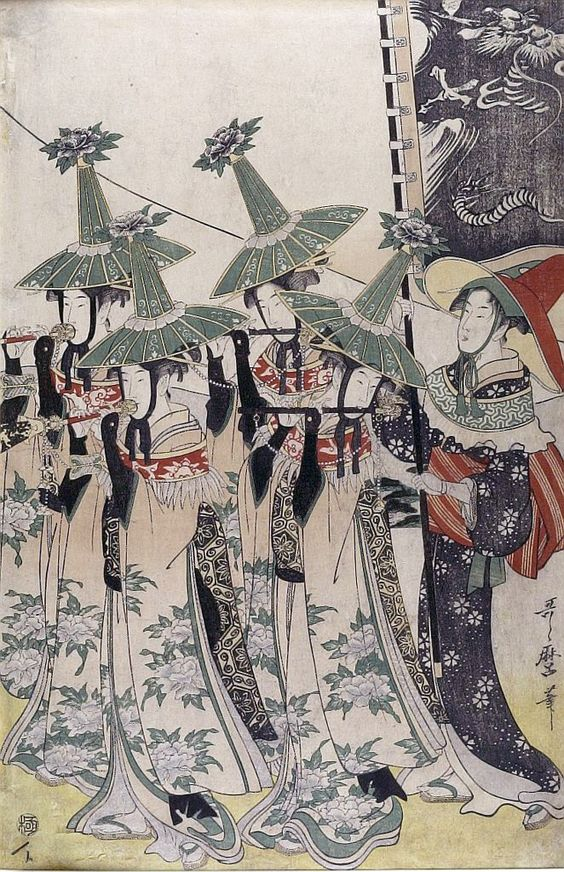 Parody of the procession of a Korean Ambassador by Kitagawa Utamaro, circa 1797-98