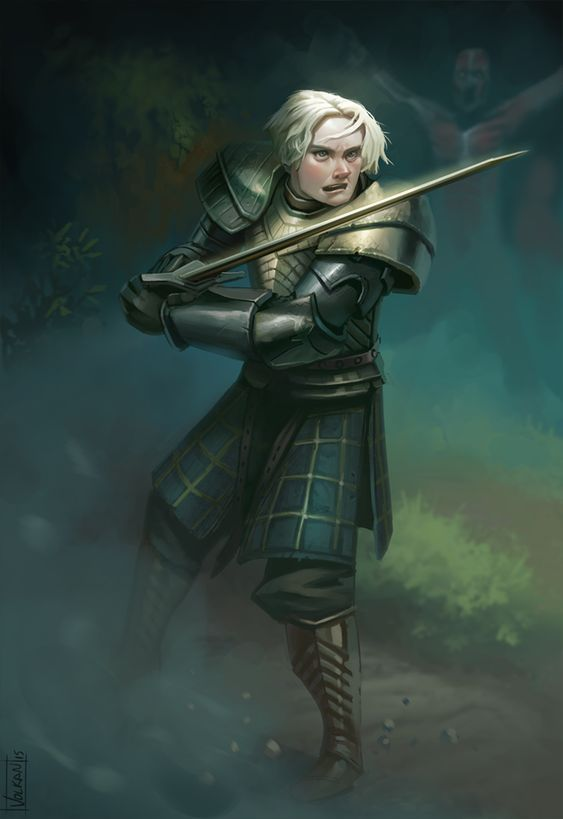Tarth by volkanyenen female fighter knight soldier paladin armor clothes clothing fashion player character npc | Create your own roleplaying game material w/ RPG Bard: www.rpgbard.com | Writing inspiration for Dungeons and Dragons DND D&D Pathfinder PFRPG Warhammer 40k Star Wars Shadowrun Call of Cthulhu Lord of the Rings LoTR + d20 fantasy science fiction scifi horror design | Not Trusty Sword art: click artwork for source