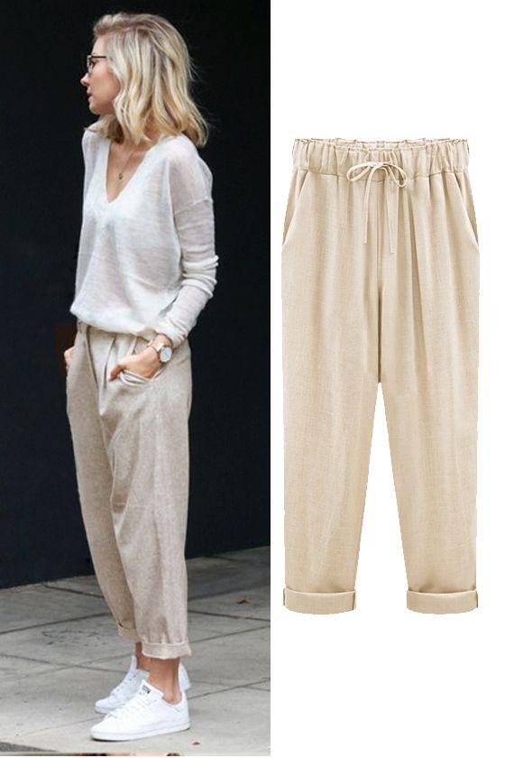 Womens Elastic High Waist Wide Leg Baggy Casual Cotton Linen Nine Pants Trousers