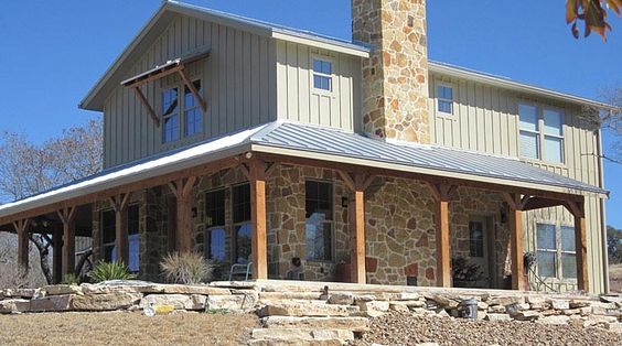 Lovely metal ranch home w wrap around porch in texas hq for Metal house plans with wrap around porch