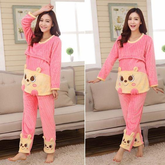 Maternity Pajama Cute Flannel Nursing Home Sleepwear Feeding ...