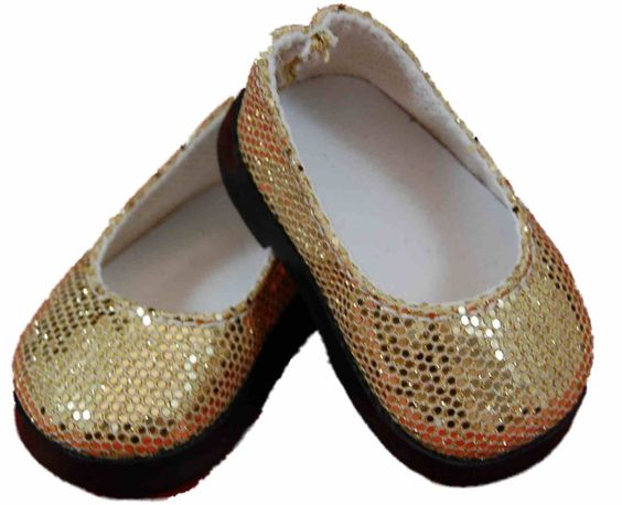 """Glamorously glittery gold slip on shoes are the perfect finishing touch for dressy 18"""" doll outfits."""