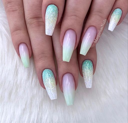 Lime Green Ombre Coffin Nails By Margaritasnailz Coffin Nails Glitter Trendy Nails Glitter Nail Art