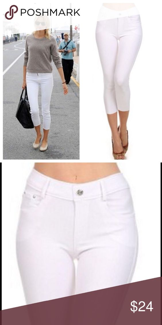 """White Skinny Capri Jegging Basic 5 pocket Capri Jegging with non functional button& zipper closer  66% cotton, 27% poly, 5% spandex   Tags say small but fits a medium very stretchy material.   Measurements for Small/Medium  Waist 26""""/ hip 32.5""""/ front rise 9""""/ back rise 12"""" Bchic Pants Capris"""