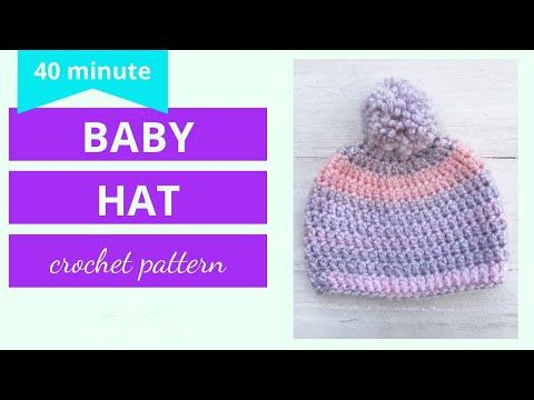 Crochet Baby Hat Tutorial 40 Minute Youtube Crochet Baby Hat Patterns Baby Beanie Crochet Pattern Baby Hat Patterns