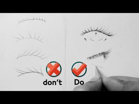 تعلم رسم رموش العين بشكل صحيح الأخطاء في رسم الرموش والطريقة الصحيحة رسم الرموش بالرصاص Youtube Drawings