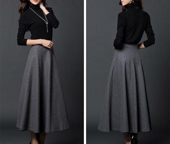 Gray / Khaki / Dark Green woolen dress/ woolen skirt/wool dress ...