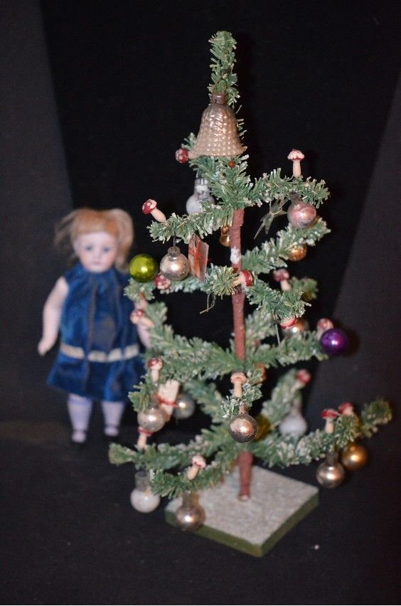 Old Doll Miniature Christmas Tree w/ Old Ornaments Dollhouse