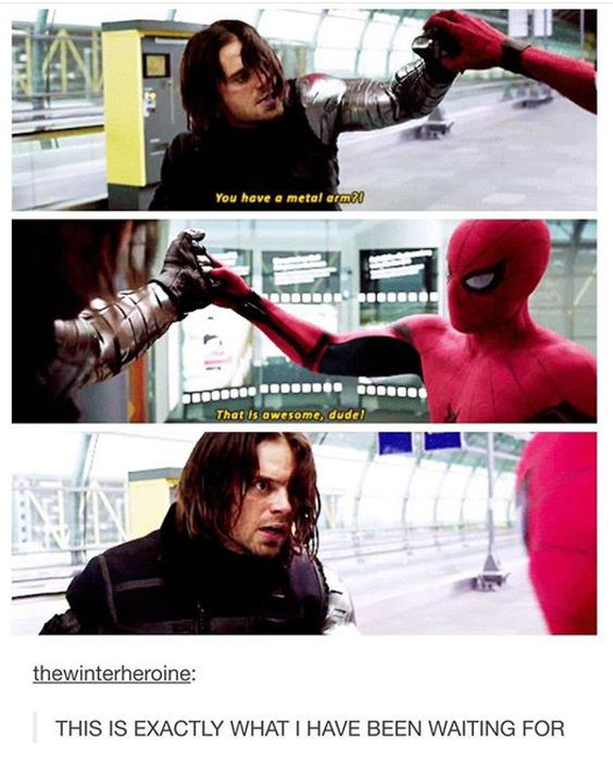 """Spiderman made me laugh so much! He's great! The look on Bucky's face after he said that was pure """"Are you kidding me!?/How old are you?!"""" Priceless!"""