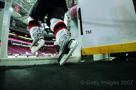 An Ottawa player takes to the ice to face the defending Stanley Cup champion Carolina Hurricanes. Photo: Bruce Bennett