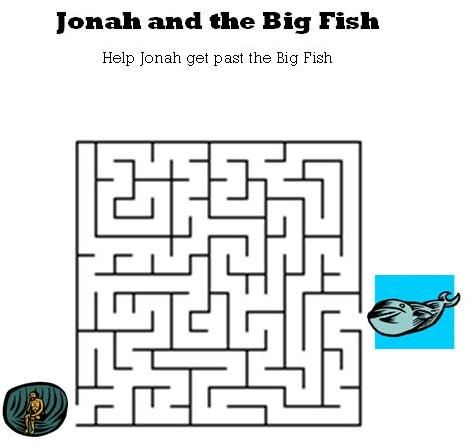 Kids Bible Worksheets-Free, Printable Jonah and the Big Fish Maze ...