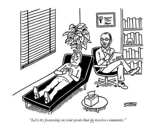 Funny Blogger Therapist Cartoon Picture: