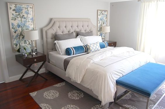 This framed wallpaper looks great.  I imagine you could also do this with fabric.: Design Bedroom, Teal Bedroom, Gray Bedroom, Guest Bedroom,  Day Bed, Master Bedroom