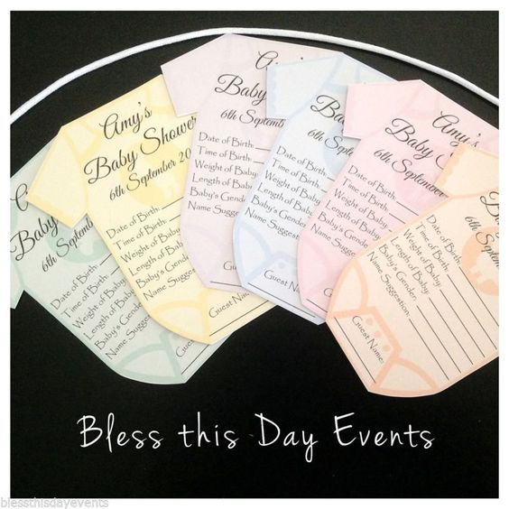 Baby Shower Game Baby Prediction Card Clothesline Small Size 18 Guests | eBay
