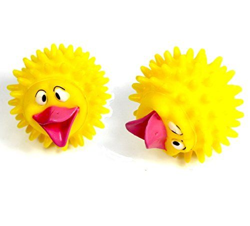 Stock Show 2pcs Pet Dog Yellow Thron Ball Toys With Big Red Mouth