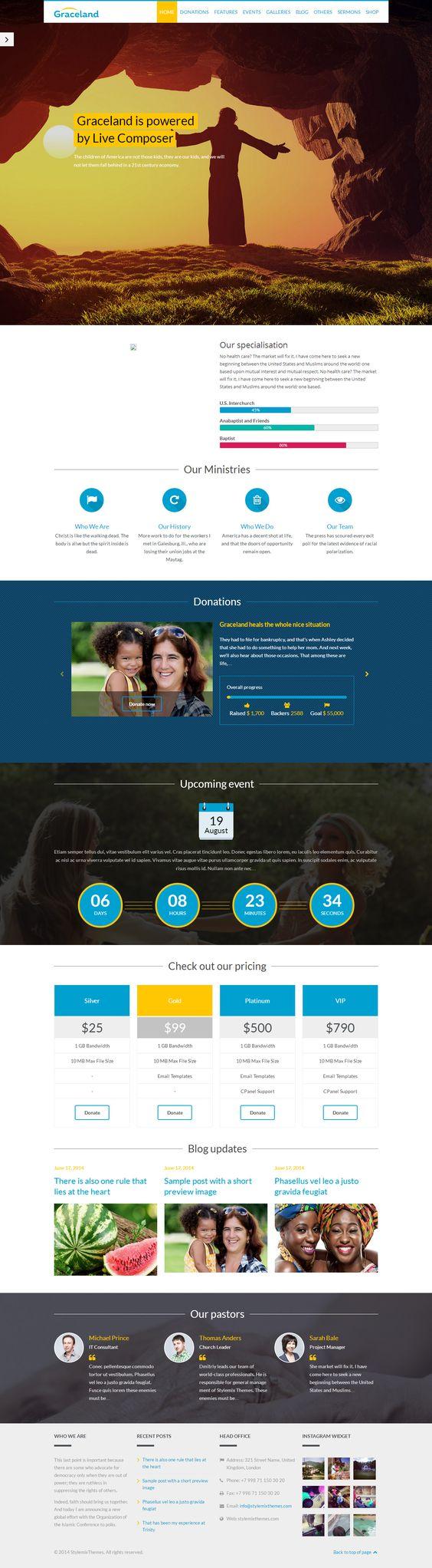 Graceland is Premium full Responsive Retina Parallax WordPress Church theme. WooCommerce. Video Background. Visual Composer. http://www.responsivemiracle.com/cms/graceland-premium-responsive-church-wordpress-theme/