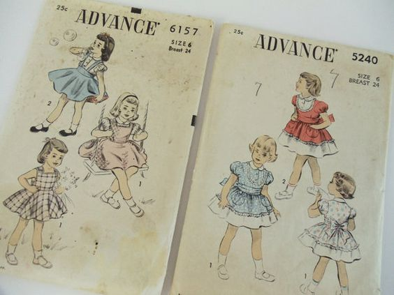 2 Vintage ADVANCE Patterns for Little Girls by UrbanRenewalDesigns, $10.00