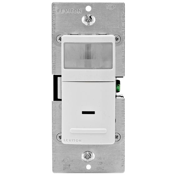 Leviton Decora Motion Sensor In Wall Switch Auto On 2 5 A Single Pole White R12 Ips02 1lw The Home Depot Leviton Motion Sensor Wall Boxes
