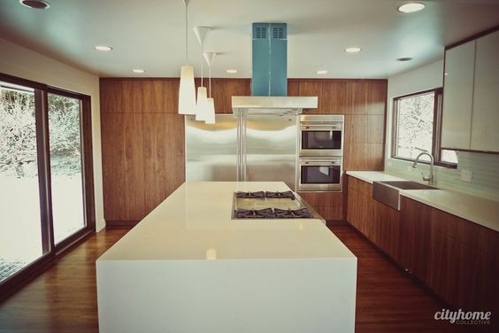 mid century modern kitchen flooring flooring ideas mid century modern and stainless sink on 9165