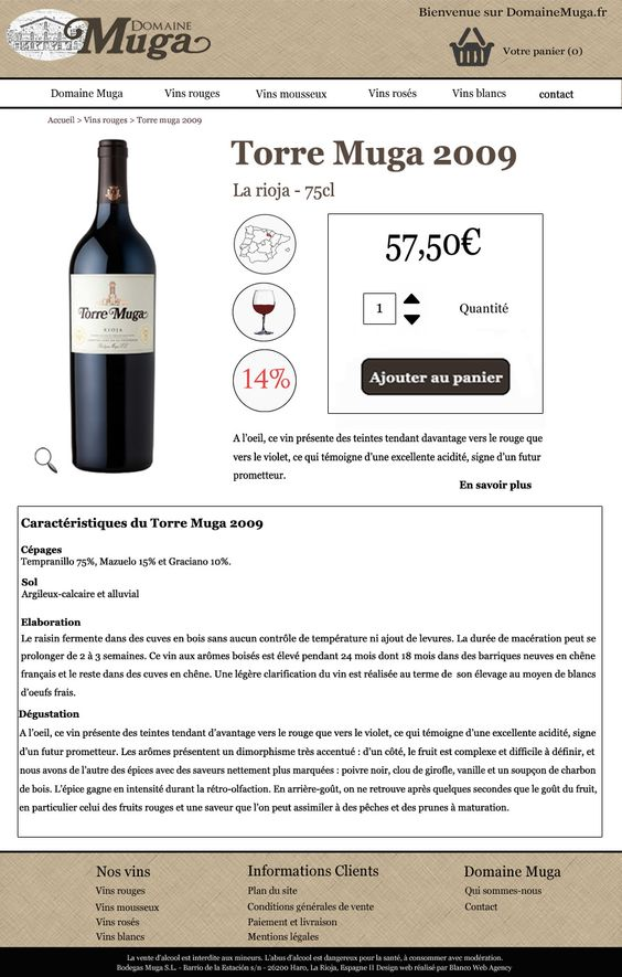 """Projet tuteuré M2 - Screenshot """"Fiche produit"""""""