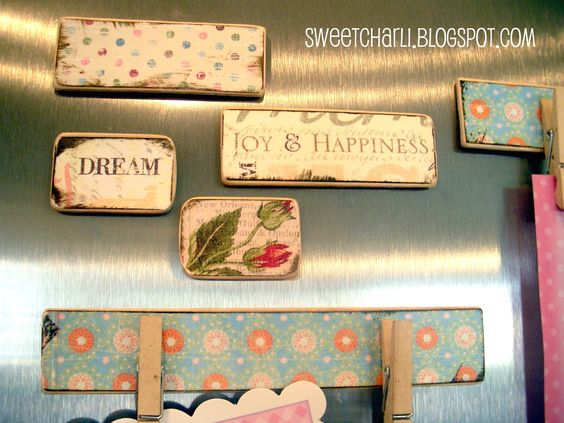 Paint Sticks made into refrigerator magnets - Lots of other ideas using paint sticks here too.